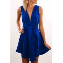Woman's V Neck Plain Sleeveless Hollow Out Back Tied Waist Mini A-Line Dress