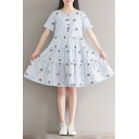 Summer Collection Floral Printed Round Neck Short Sleeve Buttons Down Midi Smock Dress