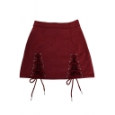New Arrival Sexy Plain Lace Up Embellished Mini A-Line Skirt