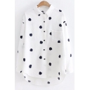 Cute Mushroom Embroidered Lapel Collar Buttons Down Long Sleeve Tunic Shirt