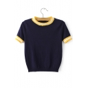 Women's Stylish Striped Trim Round Neck Short Sleeve Cropped Sweater