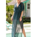New Stylish Unique V Neck Batwing Sleeve Split Side Maxi A-Line Dress