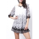 Elegant Floral Lace Insert Round Neck Half Sleeve Mini A-Line Dress
