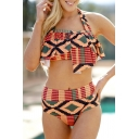Fancy Tribal Print Halter Neck Ruffle Detail Summer Bikini