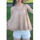 Chic Lace Panel Scoop Neck Sleeveless Bow Tie Back Loose Summer Tank