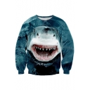 Digital Shark Printed Round Neck Long Sleeve Pullover Sweatshirt for Couple