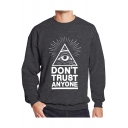Eye Letter Printed Round Neck Long Sleeve Pullover Sweatshirt