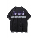 Letter Number Printed Patchwork Round Neck Short Sleeve Tee