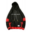 Leisure Color Block Letter Embroidered Long Sleeve Hoodie with Pocket