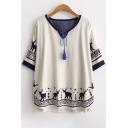 Trendy Deer Print Tassel Detail V-Neck Half Sleeve Loose Dipped Hem Tee