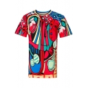 Fancy Abstract Painting Print Round Neck Short Sleeves Casual Tee