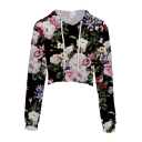 Chic Floral Printed Drawstring Hood Long Sleeve Crop Leisure Hoodie