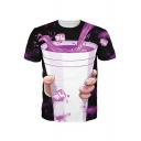 Digital Drink Printed Round Neck Short Sleeve Unisex Tee