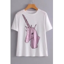 Cartoon Unicorn Printed Round Neck Short Sleeve Loose Tee