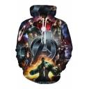 Digital Heroes Printed Leisure Long Sleeve Hoodie with Pocket