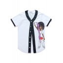 Funny Cartoon Character Print Button Front Short Sleeve Color Block Tee Top