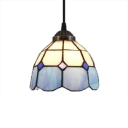 White & Blue Ceiling Pendant with Dome Glass Shade, Tiffany Mediterranean Style, 7