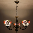 3-Light Dragonfly and Colorful Flower Pattern Chandelier with Yellow Glass Shade in Stained Glass