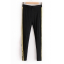 Contrast Striped Patched Elastic Waist Skinny Comfort Leggings