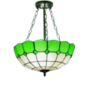 White&Green Bowl Shaped Pendant Light Tiffany Style Semi Flush Mount with 12
