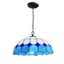 16-Inch Wide Ceiling Fixture in Mediterranean Style with Tiffany Dome Glass Shade in White & Blue