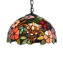 Fruit and Floral Pattern Glass Shade Tiffany Loft Lamp 2 Light Ceiling Fixture, 12