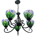 Tiffany Matt Black Finish Multi-colors Floral Stained Glass Shade Ceiling Chandelier