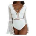 Retro Hollow Out Patchwork Plunge Neck Wide Sleeve Slim Fit Plain Bodysuit