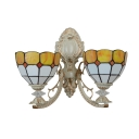 2 Light Double Wall Sconce Mediterranean with Tifany 14