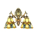 Two Light Tiffany Wall Lamp with 14-Inch Wide Peacock Glass Shade in Conical Shape, Colorful