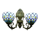 Vintage Style Tiffany 2 Light Wall Sconce Up Lighting with Glass Shade in 16