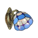 6''W Dome Wall Sconce with Handmade Glass Shade in Blue