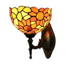 Up Lighting Tiffany Style Floral Design Wall Sconce with Corlorful Glass Shade