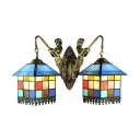 Multicolored Tiffany 2-Light Wall Sconce in Lodge Style with Exquisite Glass Shade