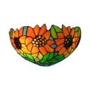 12-Inch Wide Tiffany Pastoral Sunflower Glass Wall Lamp Hallway Sconce Fixture with Stained Shade