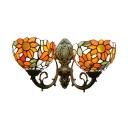 Multi-colors Pastoral Sunflower Tiffany Glass Shade Hallway Sconce, 2 Light