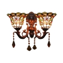 Victorian Multi-colors Stained Glass Shade Wall Sconce, 18