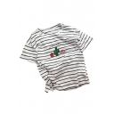 Strawberry Cactus Letter Embroidered Round Neck Short Sleeve Striped Tee