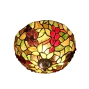 Fruit Theme Bowl Shaped Flush Mount Fixture with Tiffany Style 12