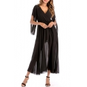 Chiffon V Neck 3/4 Length Split Sleeve Maxi Plain A-Line Dress