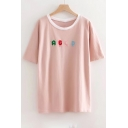 ABCD Letter Embroidered Round Neck Short Sleeve Tee