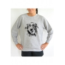 Glasses Dog Round Neck Long Sleeve Pullover Sweatshirt
