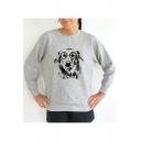 Glasses Dog Round Neck Long Sleeve Pullover Sweatshirt