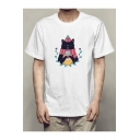 Chic Cat with Hat & Scarf Print Round Neck Short Sleeve Tee