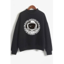 FASHION IN ORIGINAL Letter Astronaut Print Pullover Sweatshirt