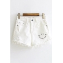 Summer Fashion Smiley Face Embroidered Raw Edged Zipper Fly Ripped Off Shorts