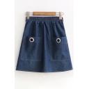 Simple Grommet Detail Pocket Front Zip Side Elastic Waist Plain Denim Skirt