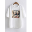Unique Character Print Round Neck Short Sleeves Casual Loose Tee