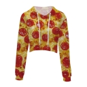 3D Food Printed Leisure Long Sleeve Drawstring Hood Crop Hoodie