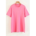 Simple Fashion Plain Round Neck Short Sleeves Casual Popular Tee